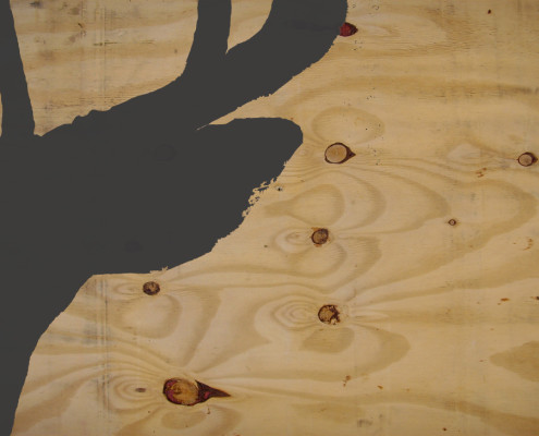 deer's ear silhoutte on plywood
