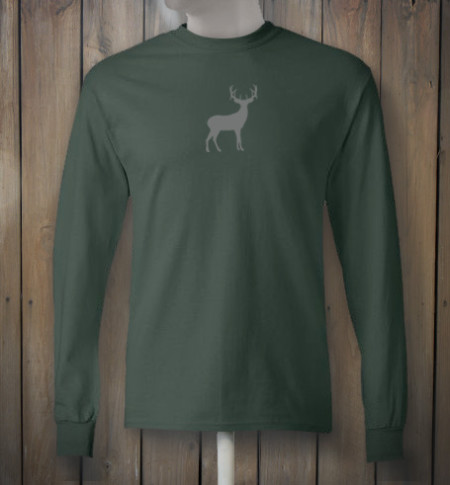 Longsleeve green tshirt with grey deer