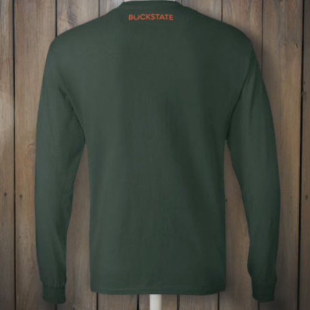 Back of green t-shirt with Hunter Orange design