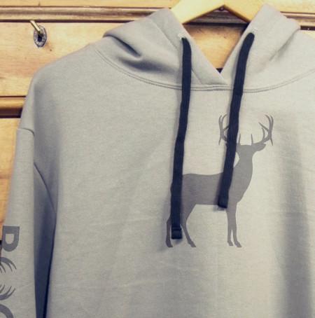 Grey hoodie with deer logo
