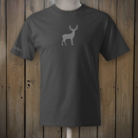 Dark grey t-shirt with grey deer logo