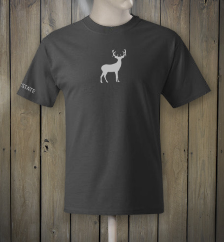 Dark grey t-shirt with white deer logo