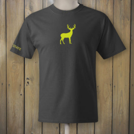 Grey t-shirt with yellow deer logo