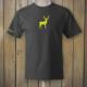 Grey t-shirt with yellow deer logo