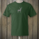 Green t-shirt with grey deer logo