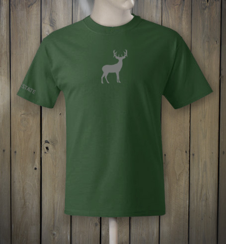 Green t-shirt with grey deer logo