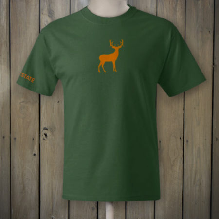 Woodland green t-shirt with orange deer logo