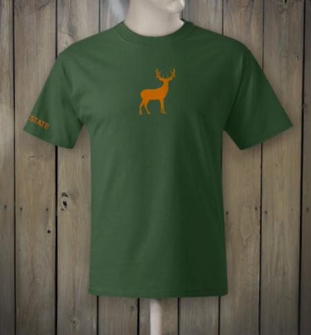 Woodland green t-shirt with orange deer logo