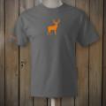 Grey t-shirt with hunter's orange deer logo