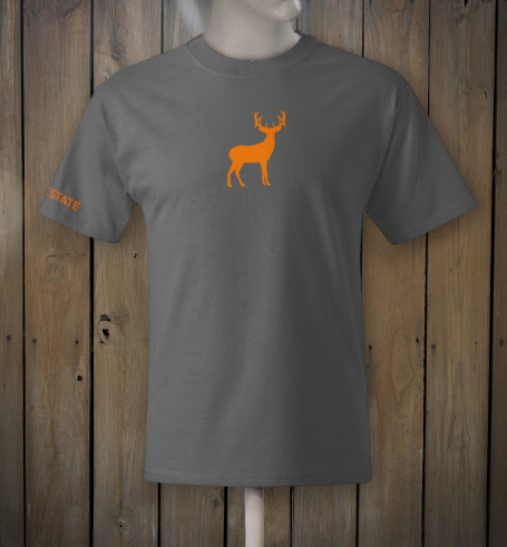 Grey t-shirt with hunter's orange deer logo