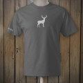 grey tshirt with white deer logo