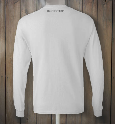 Grey Deer Long Sleeve Men's White T-shirt - Buckstate