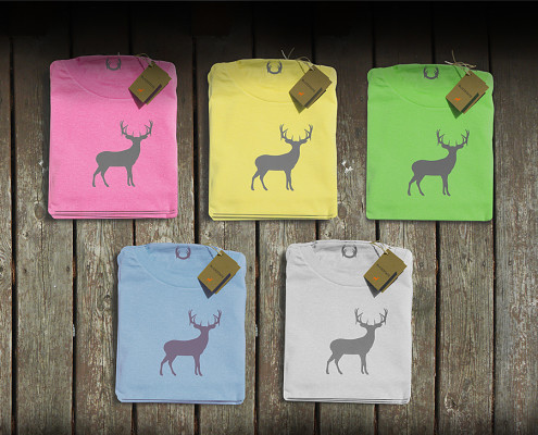 summer colored deer t-shirts on the deck