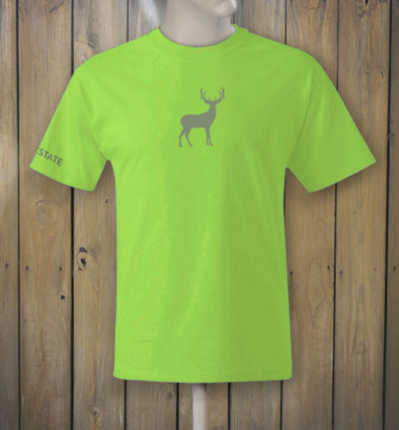 Grey deer men 39 s lime green t shirt buckstate for Neon green shirts for men