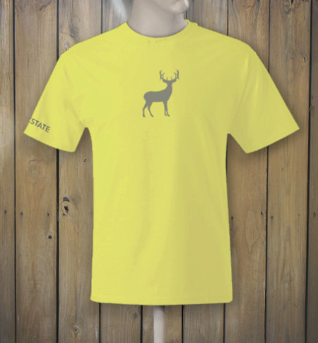 Yellow t-shirt with deer logo