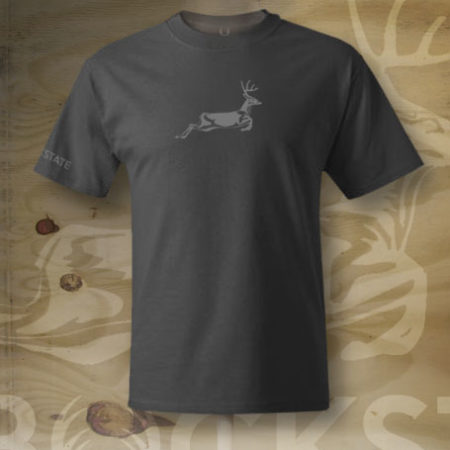 Jumping deer logo close up