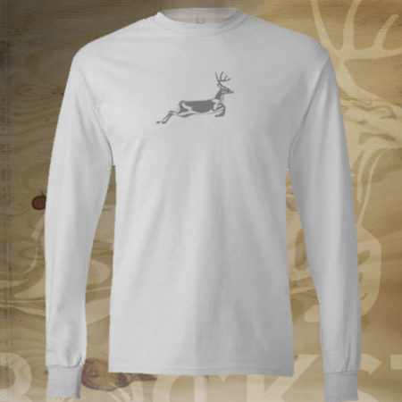 running deer on white long sleeve t-shirt