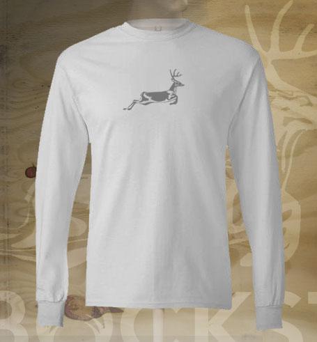 running deer on white long sleeve t-shirt