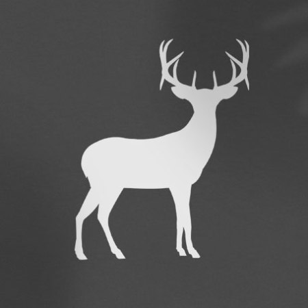white deer silhouette on grey background
