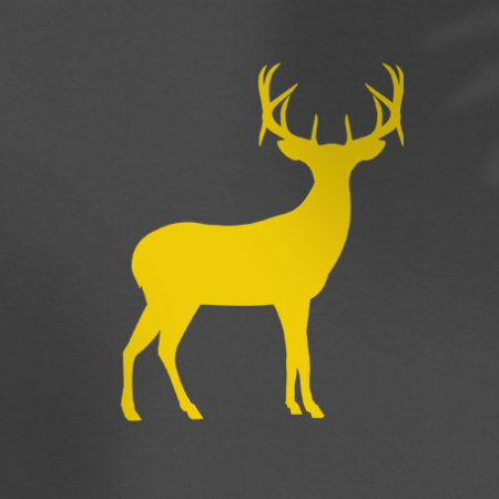 yellow deer silhouette on grey