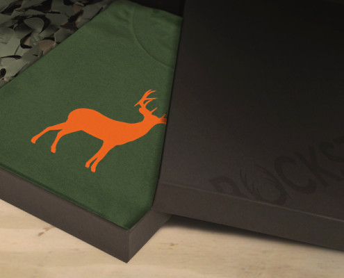 Deer tshirt displayed in packaging box