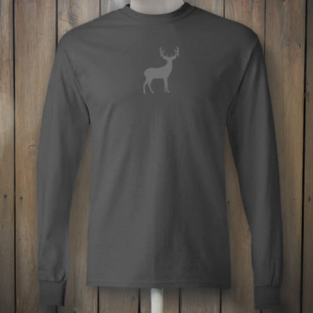 Grey deer on long sleeve shirt