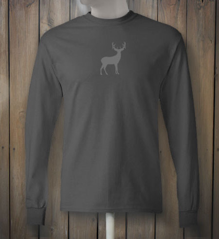 Charcoal Long Sleeve T-shirt with Grey Deer - Buckstate